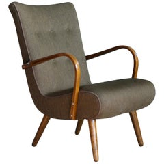 Danish Lounge Chair with Open Curved Armrests in the Style of Marco Zanuso