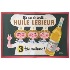 Original Vintage French Advertising Poster, 'Huile Lesieur' by Herve Morvan