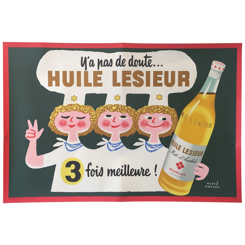 Original Vintage French Advertising Poster, 'Huile Lesieur' by Herve Morvan