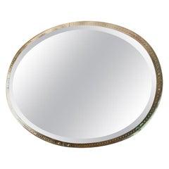 Wonderful Mid-Century Modern Lorin Marsh Large Oval Dots Beveled Venetian Mirror