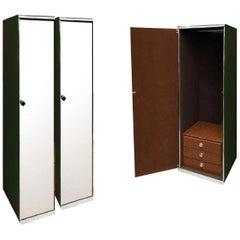 Guido Faleschini, I4 Mariani for Pace & Hermès Mirrored Wardrobe Cabinet Green