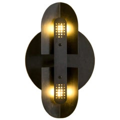 Fold Sconce in Perforated Black Patina by Simon Johns