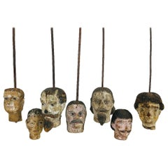 Lot of 7 Hand Painted Hand Carved 18th Century French Marionette Wooden Heads