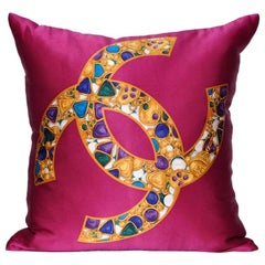 Vintage French Chanel Silk Fabric with Jewels Pillow and Irish Linen Cushion