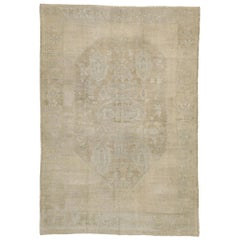 Vintage Turkish Oushak Rug with Rustic Chinoiserie Style and Muted Colors
