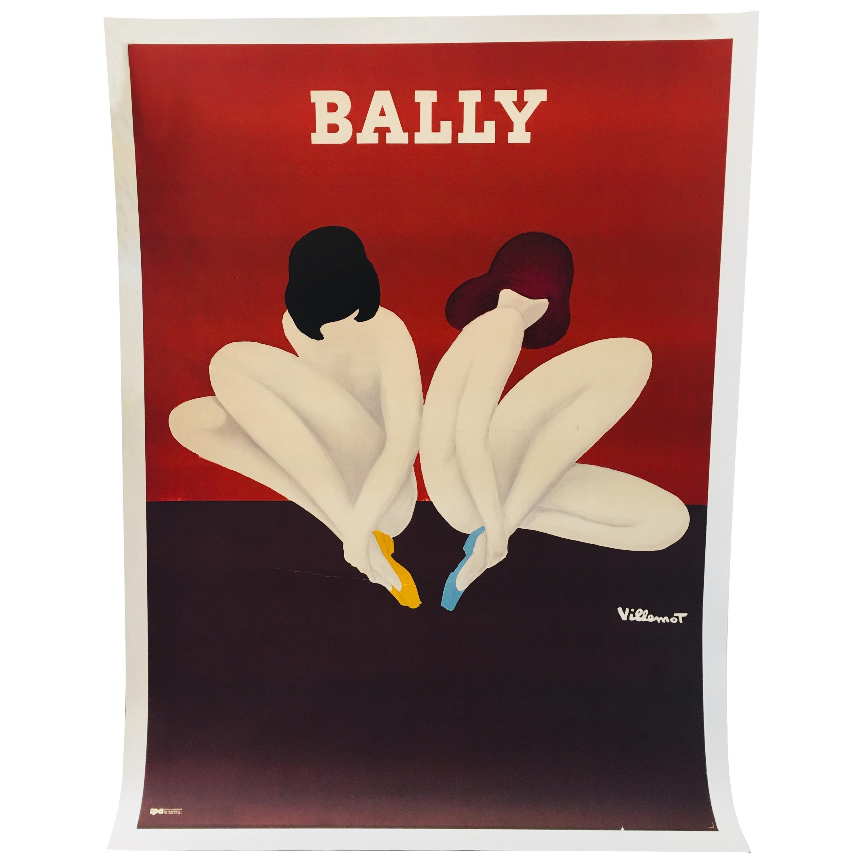 Original Vintage French Shoe Advertising Poster 'Bally Lotus' by Villemot, 1977