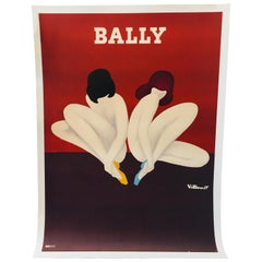Original Vintage French Shoe Advertising Poster 'Bally Lotus' by Villemot, 1977