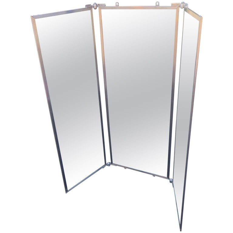 Three Panel Mirror And Metal Folding Screen For