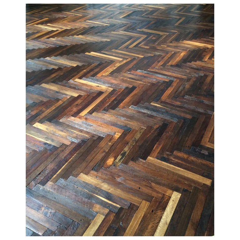 French Antique Solid Wood Oak Herringbone Pattern, 18th Century, France For Sale