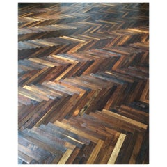 French Antique Solid Wood Oak Herringbone Pattern 18th Century, France