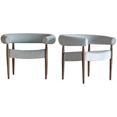Pair of Nanna Ditzel Ring Chairs in Walnut and Wool for GETAMA, Denmark