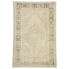 Vintage Turkish Oushak Rug with Mission Style and Faded, Neutral Colors