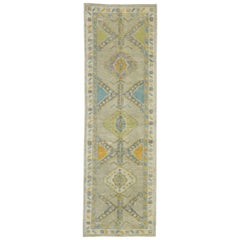 New Contemporary Turkish Oushak Runner with French Rococo Style, Pastel Colors