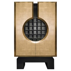 Contemporary Art Deco Cocktail Cabinet Featuring Gold or Silver Leaf Finish