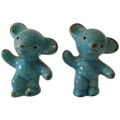 Two Karlsruhe Majolika Ceramic Bears by Walter Bosse
