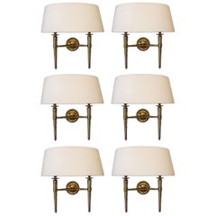 Prince De Galles Hotel Elegant Set of 6 Brass Sconces, 1940