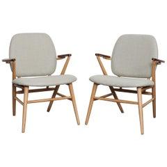 Swedish, 1950s Beech and Teak Side Chairs