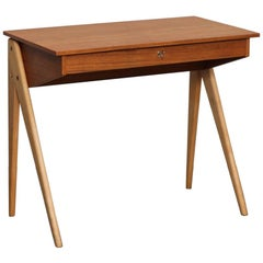 Swedish 1950s Desk or Vanity in Teak and Beech