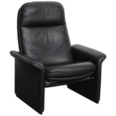 De Sede Black Leather Reclining DS50 Lounge Chair, Switzerland, 1970s