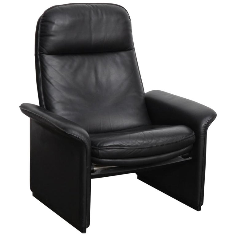 De Sede Black Leather Reclining DS50 Lounge Chair, Switzerland, 1970s For Sale