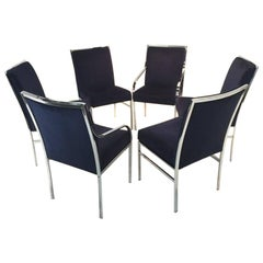 Gorgeous Chrome and Blue Velvet Dining Chairs by Pierre Cardin, Set of Six