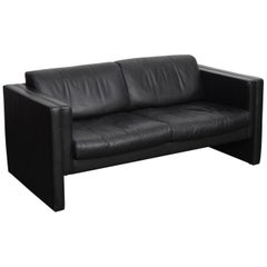 Walter Knoll Studio Line Series black leather sofa designed by Jürgen Lange