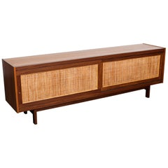 English 1960s Teak and Afromosia Trimmed Sideboard with Cane Doors
