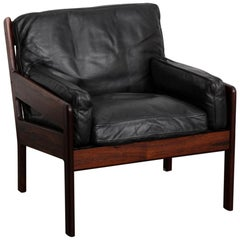 Swedish 1960s Midcentury Rosewood and Black Leather Lounge Chair