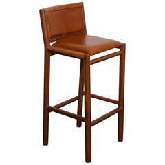 Brazilian Solid Wood and Leather Tall Bar Stool, 1970s
