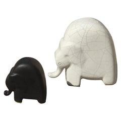 Elephants Porcelain Stonewar Stylized Italian Production Studiolinea, 1970