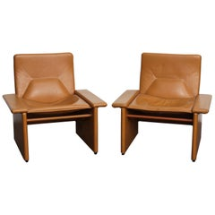 Pair of 1970s Italian Cognac Original Leather Modern Lounge Chairs