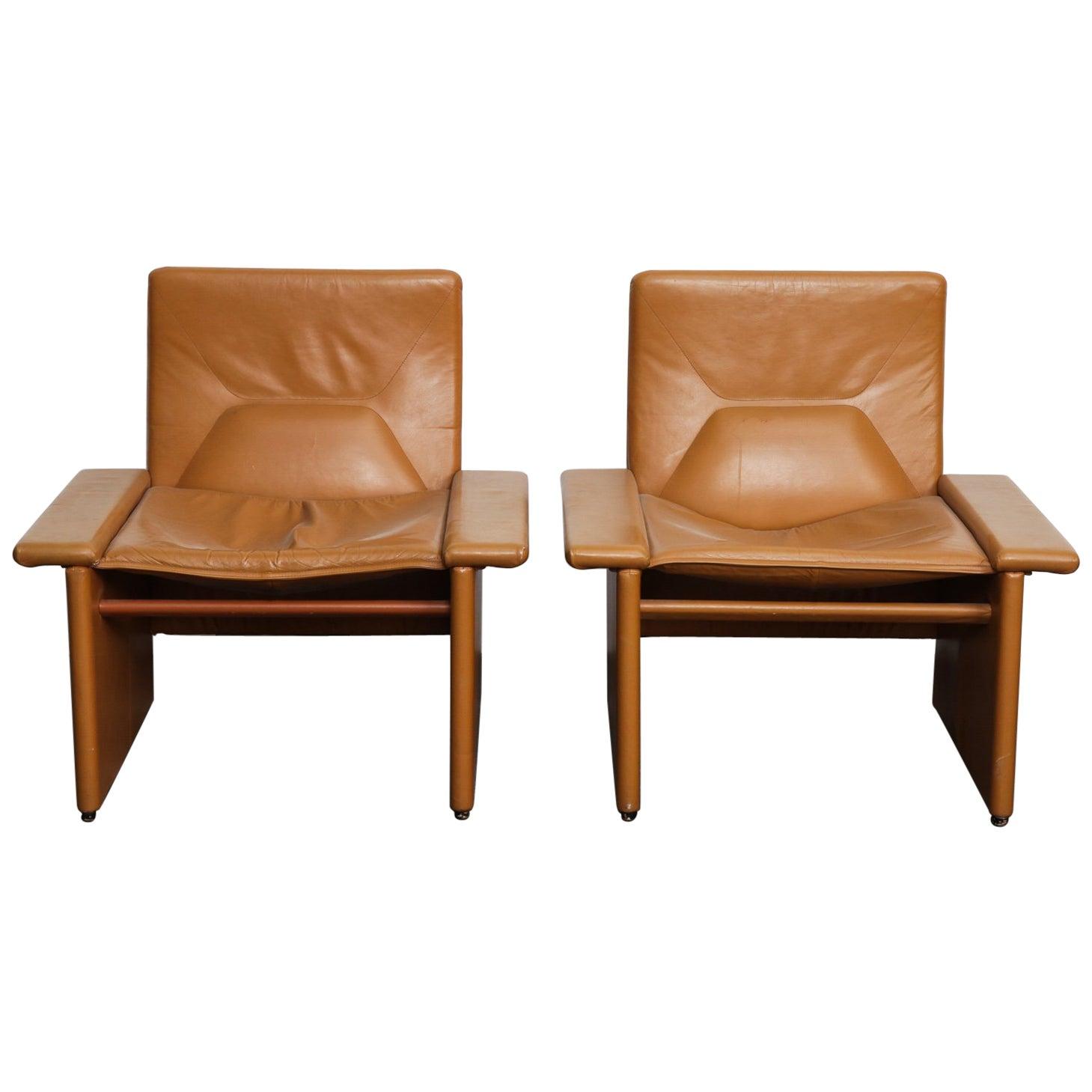 Pair of 1970s Italian Cognac Original Leather Modern Lounge Chairs