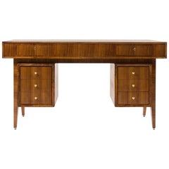Large Desk in Walnut and Brass Italian Design, 1950