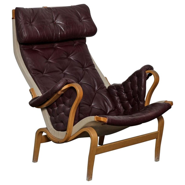 "Bruno Mathsson Eggplant Colored Tufted Leather ""Pernilla"" Chair for DUX, Sweden For Sale"