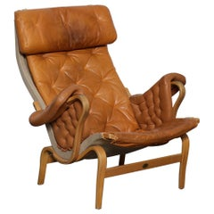 "Bruno Mathsson Tan Colored Tufted Leather ""Pernilla"" Chair for DUX, Sweden"