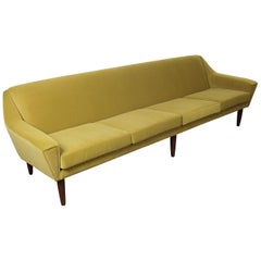 Danish 1950s Mid-Century Modern 4-Seat Green Velvet Sofa