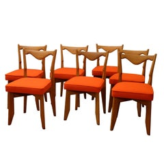 Guillerme et Chambron, a set of seven chairs, 1960s