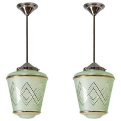 Pair of 1940s French Art Deco Lanterns, Mint Glass and Gold Paint
