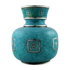 Wilhelm Kåge, Gustavsberg, Argenta Art Deco Ceramic Vase Decorated with Flowers