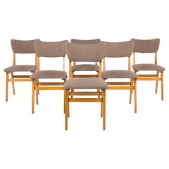 Chairs in Solid Oak and Brown Fabric 1950, Set of 6