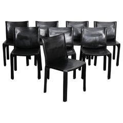 Set of 8 Black Leather Mario Bellini 'Cab' Chairs Produced by Cassina