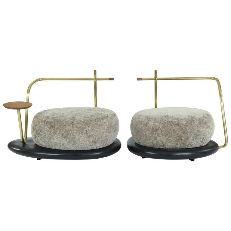 Pair of Zen Pouffes, Misaya For Sale