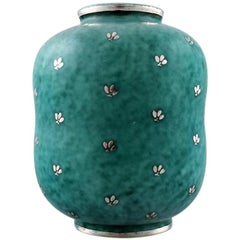 Wilhelm Kåge, Gustavsberg, Argenta Art Deco Ceramic Vase Decorated with Leaves