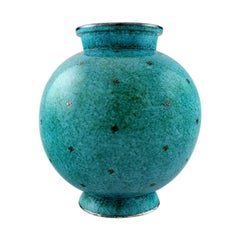 Wilhelm Kåge, Gustavsberg, Large Argenta Art Deco Round Ceramic Vase