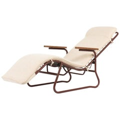 Jean Lesage Lounge Chair in Burgundy Metal and Beige Seat Edition Airbone, 1950