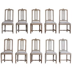 Set of Ten 18th Century Gustavian Dinning Room Chairs