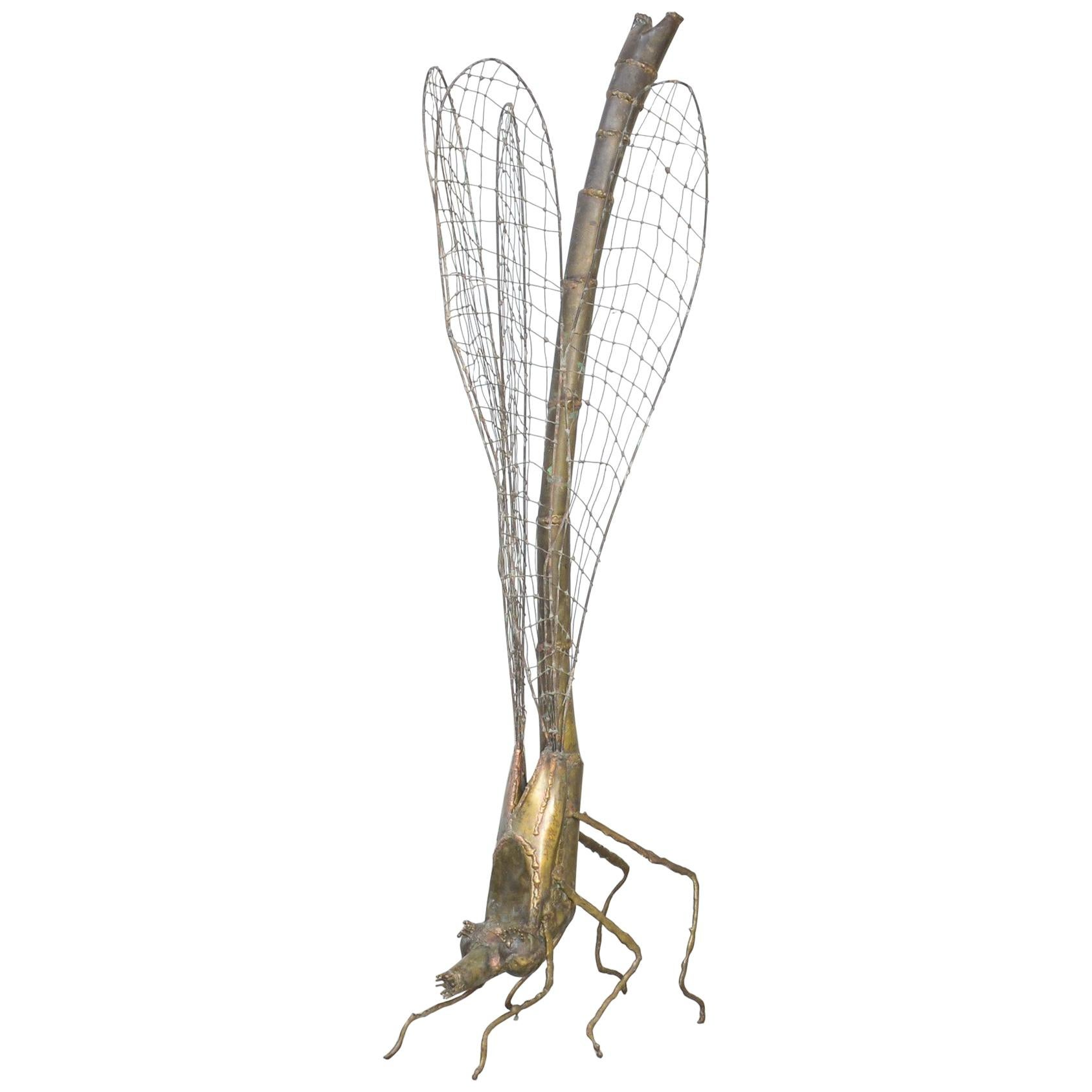 Brass Dragonfly Sculpture by Daniel Dhaeseleer