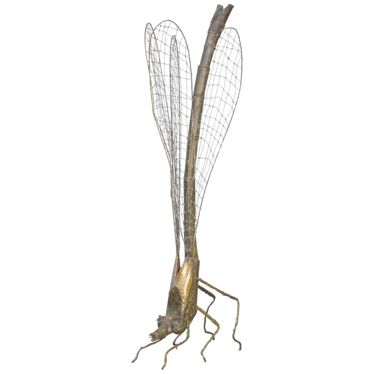 Brass Dragonfly Sculpture by Daniel Dhaeseleer For Sale