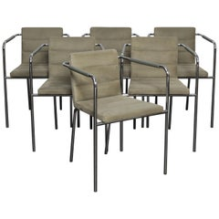 Set of 6 Metal and Original Ultra Suede Dining Chairs by Gunilla Allard for Lamm