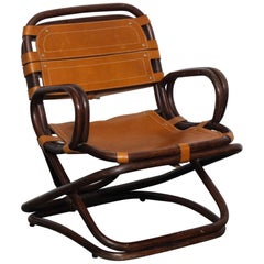 Swedish 1970s Bamboo and Leather Chair